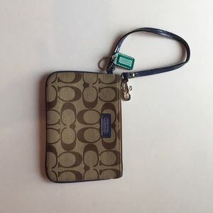 Coach logo brown and blue leather wristlet